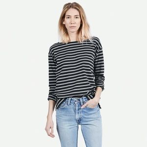 Everlane Heavyweight Tee Black and Grey Striped XS